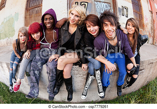 Group of Teens Outside - csp7779261