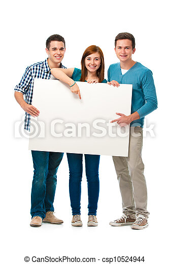 Group of teens with a banner - csp10524944