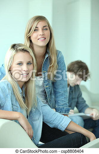Group of three teenagers - csp8808404
