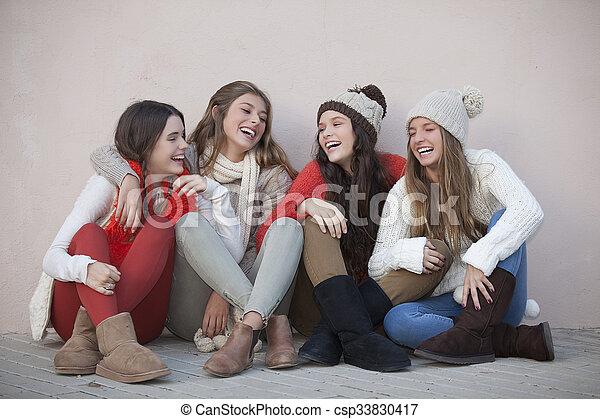 group of trendy happy teens - csp33830417