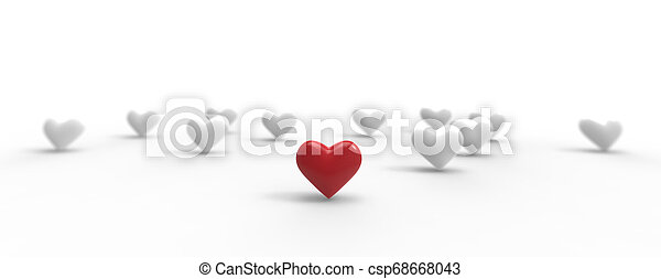Group of Valentine Hearts on white background. 3D rendering. - csp68668043