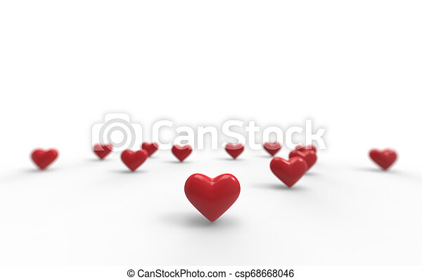 Group of Valentine Hearts on white background. 3D rendering. - csp68668046