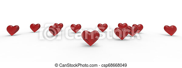 Group of Valentine Hearts on white background. 3D rendering. - csp68668049