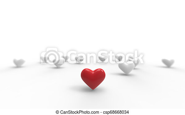 Group of Valentine Hearts on white background. 3D rendering. - csp68668034