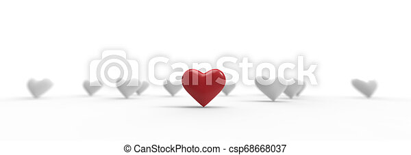 Group of Valentine Hearts on white background. 3D rendering. - csp68668037