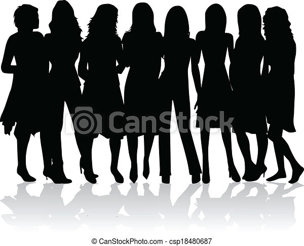 group of women - black silhouettes - csp18480687