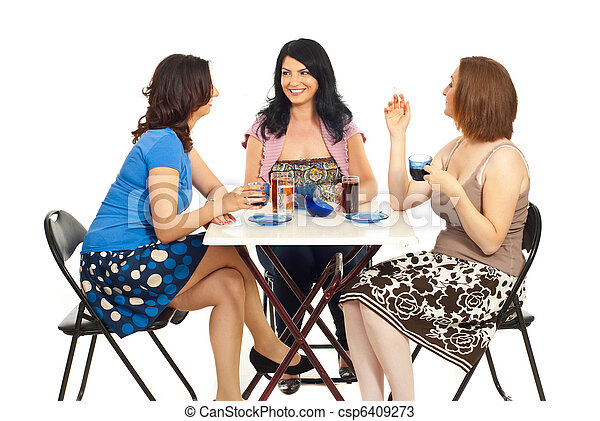Group of women chatting at table - csp6409273