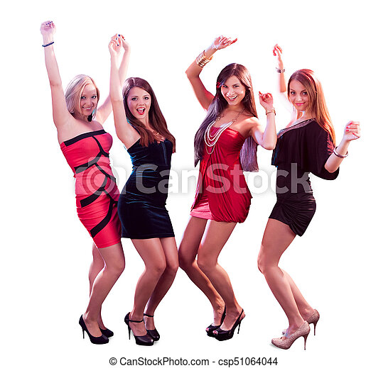 5cf92c7dc Group of women dancing. Group of glamorous young women in evening ...