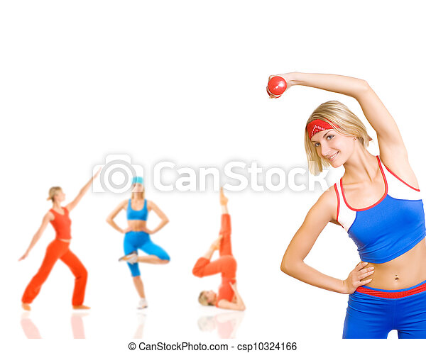 Group of women doing fitness exercise isolated on white. Lots of possibilities to put your text on - csp10324166