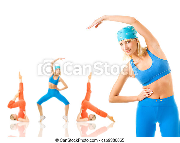 Group of women doing fitness exercise isolated on white. Lots of possibilities to put your text on - csp9380865