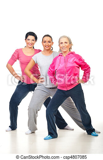 Group of women doing fitness - csp4807085