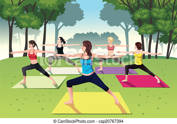 Group of women doing yoga in the park - csp20767394