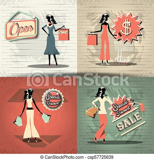 0b0a8eb0ad Group of women in shopping day style retro vector illustration design.