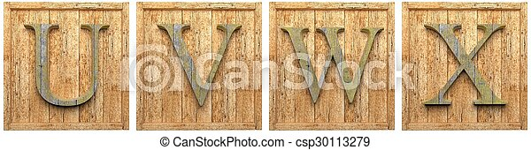 Group of wooden letters U V W X framed, isolated on white - csp30113279
