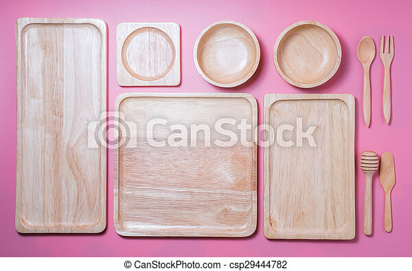 Group of wooden plate and bowl - csp29444782