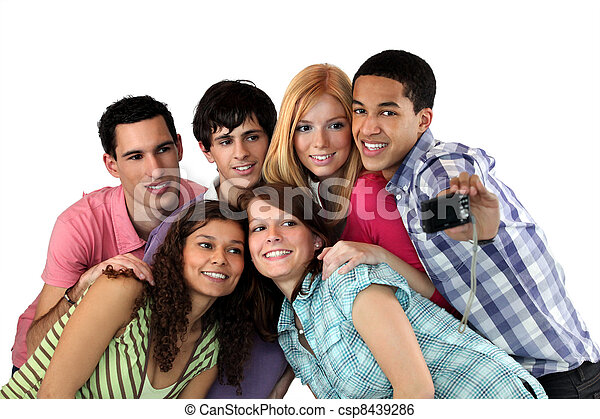 Group of young adults taking pictures - csp8439286