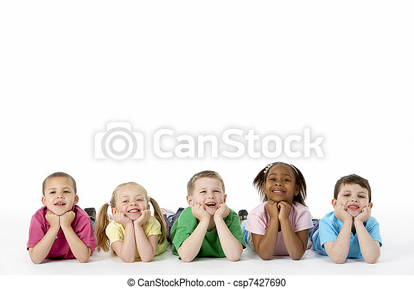 Group Of Young Children In Studio - csp7427690