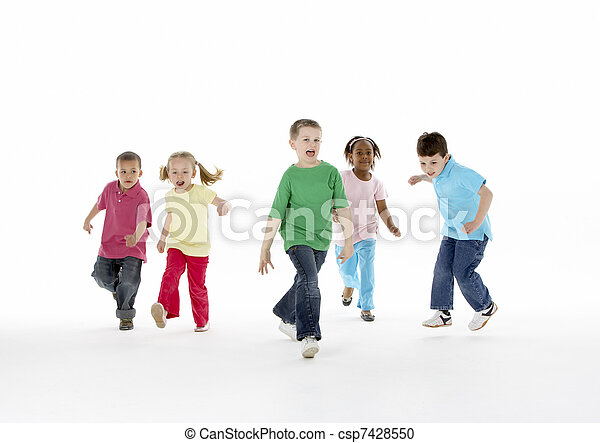 Group Of Young Children In Studio - csp7428550