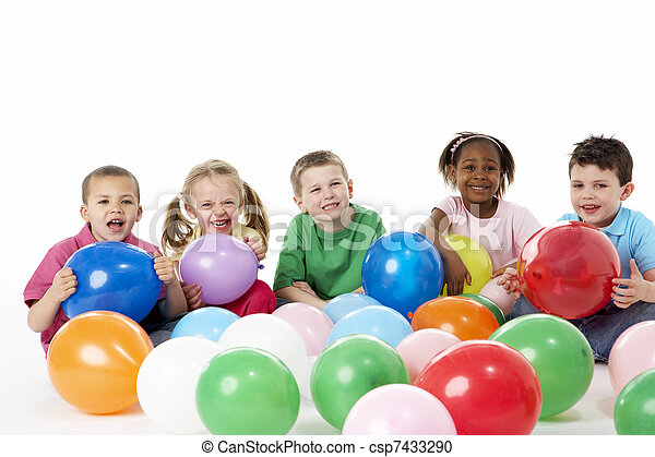 Group Of Young Children In Studio With Balloons - csp7433290