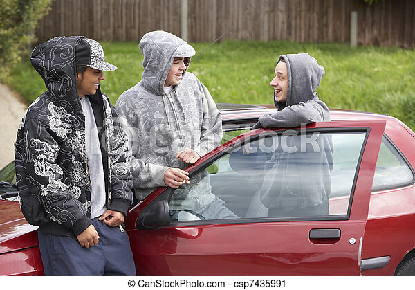 Group Of Young Men With Cars - csp7435991