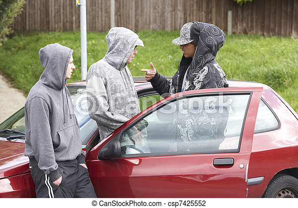 Group Of Young Men With Cars - csp7425552