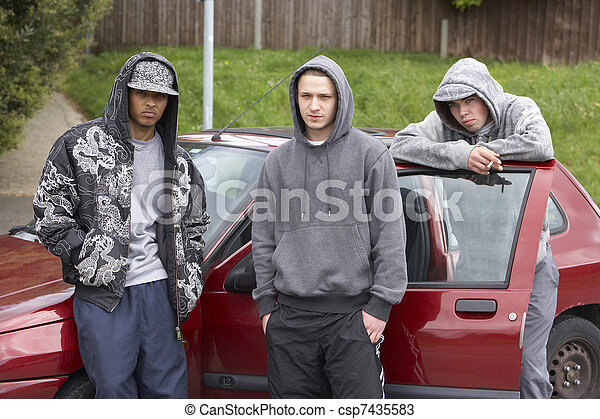 Group Of Young Men With Cars - csp7435583