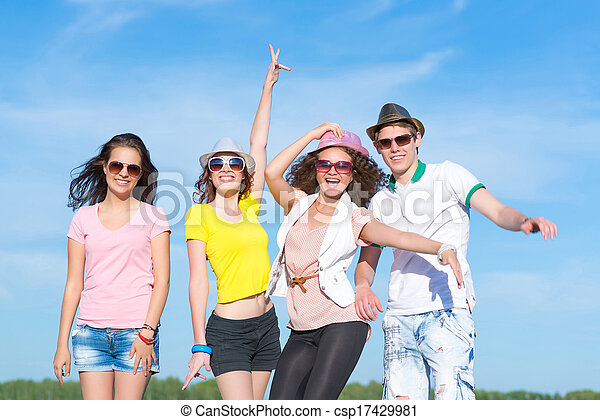 Group of young people having fun - csp17429981