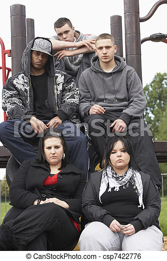 Group Of Young People In Playground - csp7422776