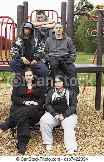 Group Of Young People In Playground - csp7422034