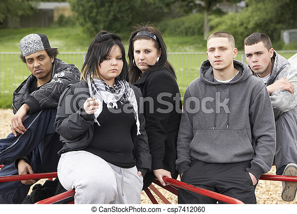 Group Of Young People In Playground - csp7412060