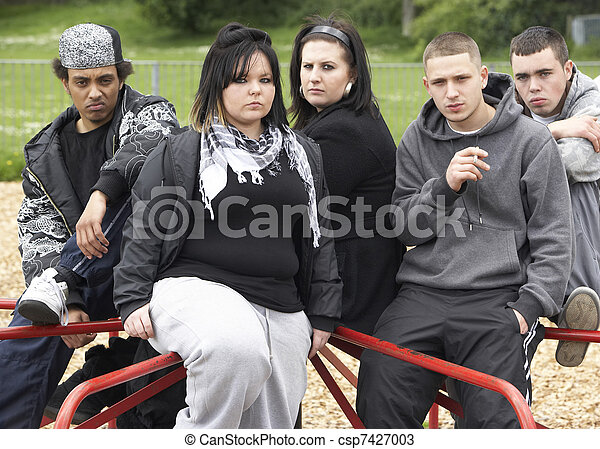 Group Of Young People In Playground - csp7427003