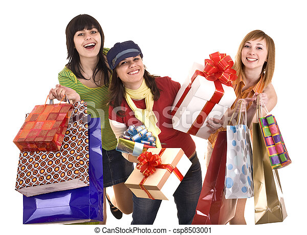 Group people girl with  shopping bag and gift box.  - csp8503001
