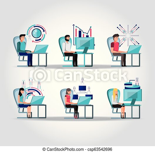 group people working and set icons business - csp63542696