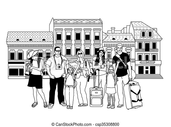 Line Art City : Group tourists people black and white in abstract city vector