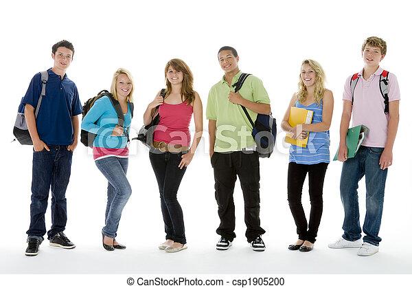 groupe, adolescent, gosses, coup, école - csp1905200