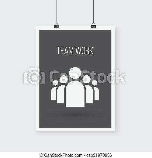 groupe, affiche, travail, wall., vecteur, équipe, icône - csp31970956
