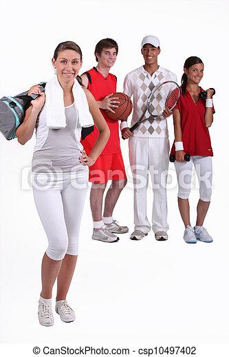 groupe, athlètes, jeune - csp10497402