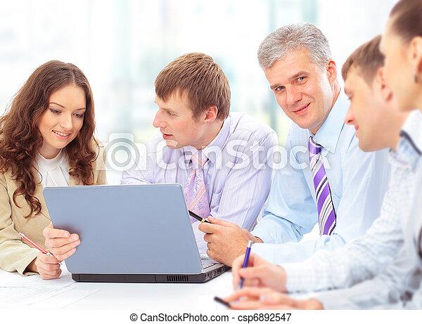 groupe, bureau, professionnels, réunion, heureux - csp6892547