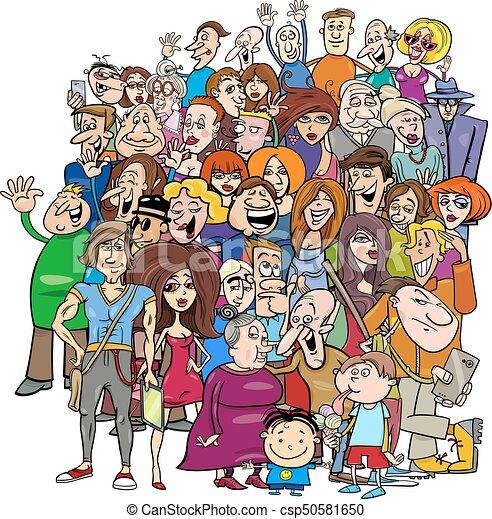 groupe, dessin animé, foule, gens - csp50581650