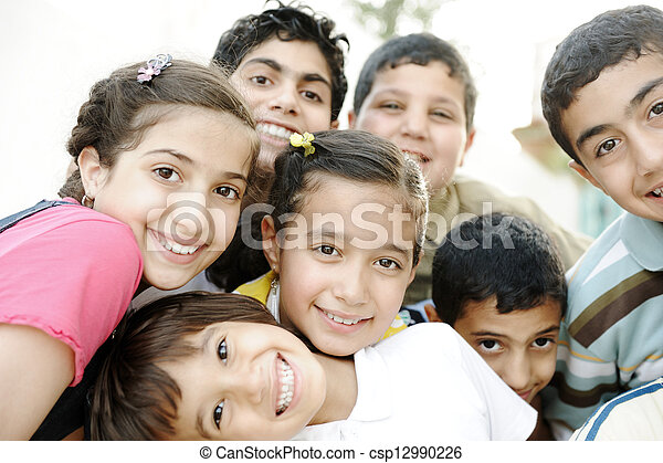 groupe, enfants, heureux - csp12990226