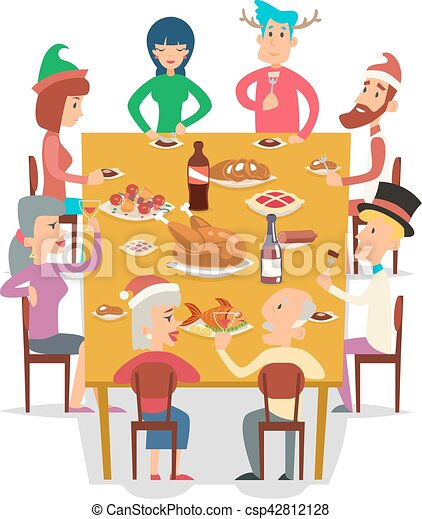 Groupe Famille Amis Illustration Noel Meating Vecteur