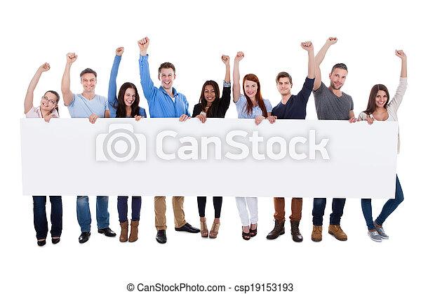 groupe, gens, divers, tenue, bannière, excité - csp19153193