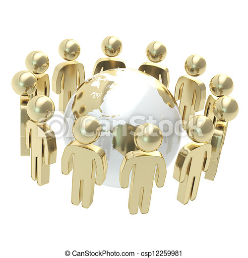 groupe, gens, globe, symbolique, entourer, la terre - csp12259981