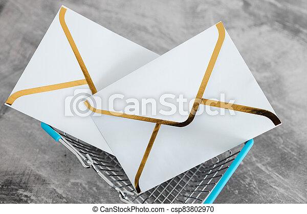 groupe, icônes, panier, email, achats, intérieur, enveloppe - csp83802970