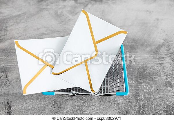 groupe, icônes, panier, email, achats, intérieur, enveloppe - csp83802971