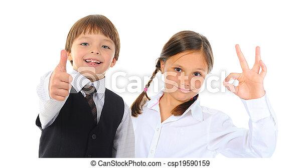groupe, poser, enfants - csp19590159