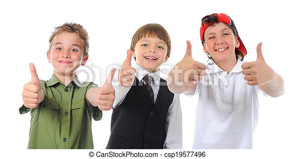 groupe, poser, enfants - csp19577496