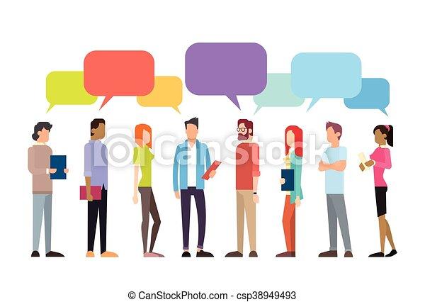 groupe, réseau, gens, communication, bavarder, social, bulle, désinvolte - csp38949493