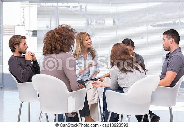 groupe, séance, thérapie - csp13923593
