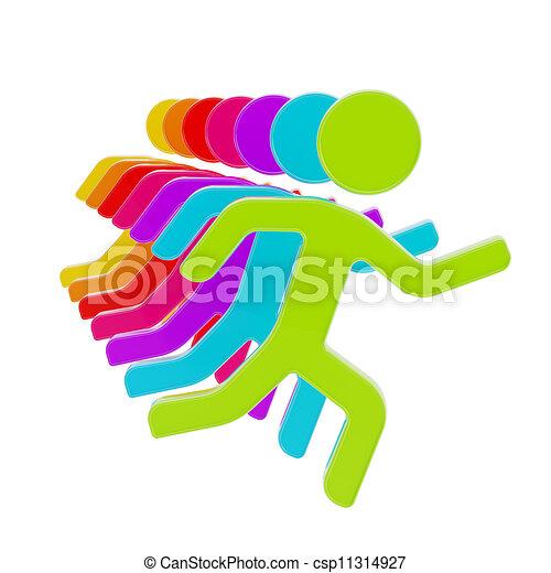 groupe, symbolique, isolé, figures, humain, ligne - csp11314927